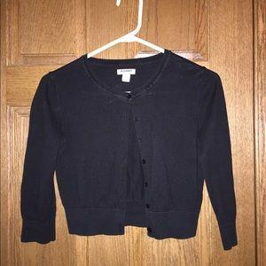 Black crop 3/4 sleeve cardigan
